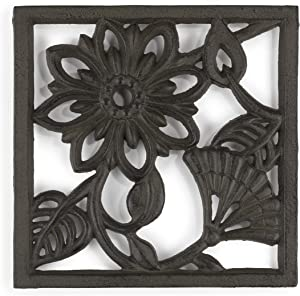 gasaré, Cast Iron Trivet, Metal Trivet, Decorative Flower, for Hot Dishes, Pots, Kitchen, Countertop, Dining Table, with Rubber Feet Caps, Solid Cast Iron, 7 ¾ Inch Large, Rustic Brown Finish, 1 Unit