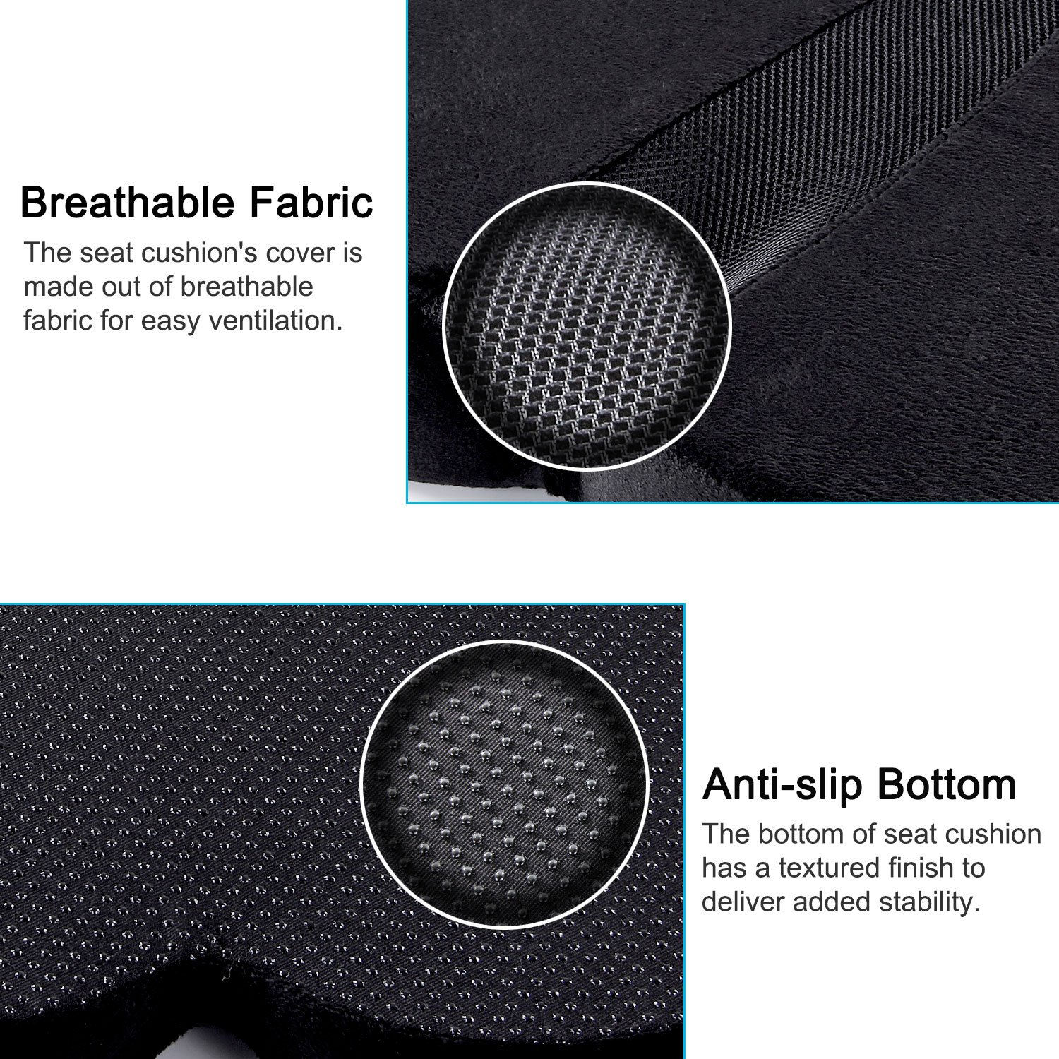 Antaprcis Seat Cushion Pure Memory Foam Confortable Luxury Seat Cushion for Relieve Back, Sciatica and Tailbone Pain - Office Chair and Car Seats Cushion by Antaprcis (Image #4)