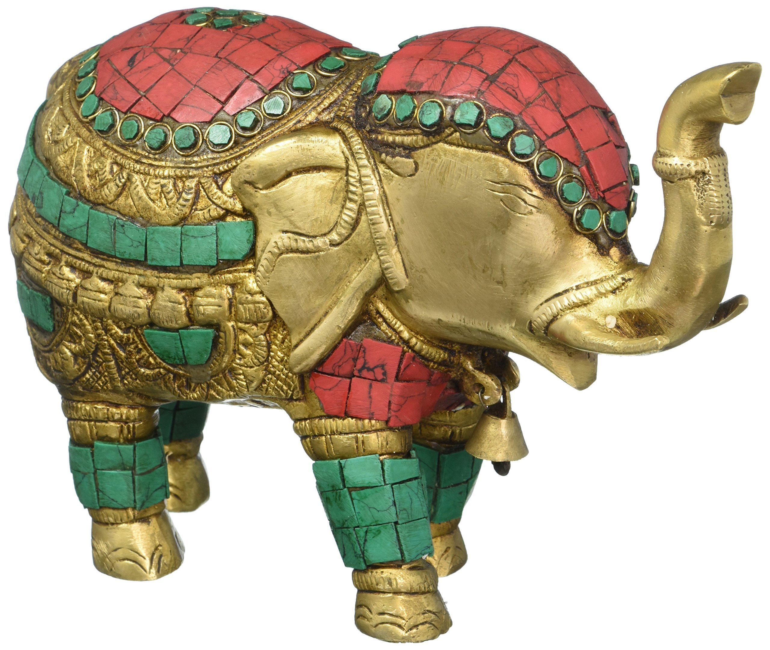 Aone India Thai Trunk up Elephant Figurine - Metal Brass Elephant with Turquoise Gemstones Handwork- Vintage Style Animal Collectible Home Decor Sculpture + Cash Envelope (Pack Of 10) by AONE INDIA