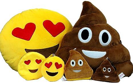 Global Mark Store. Set de cojín, llavero y monedero de peluche, diseño redondo de emoticono con ojos de corazón o en forma de caca, color amarillo o ...