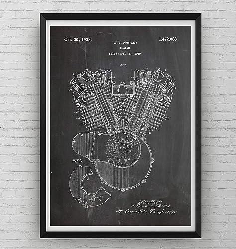 Amazon harley davidson patent art print engine poster harley davidson patent art print engine poster motorbike gift motorcycle poster vintage blueprint retro malvernweather Choice Image