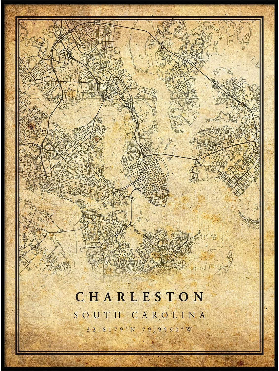 Charleston map Vintage Style Poster Print | Old City Artwork Prints | Antique Style Home Decor | South Carolina Wall Art Gift | map Poster 16x20