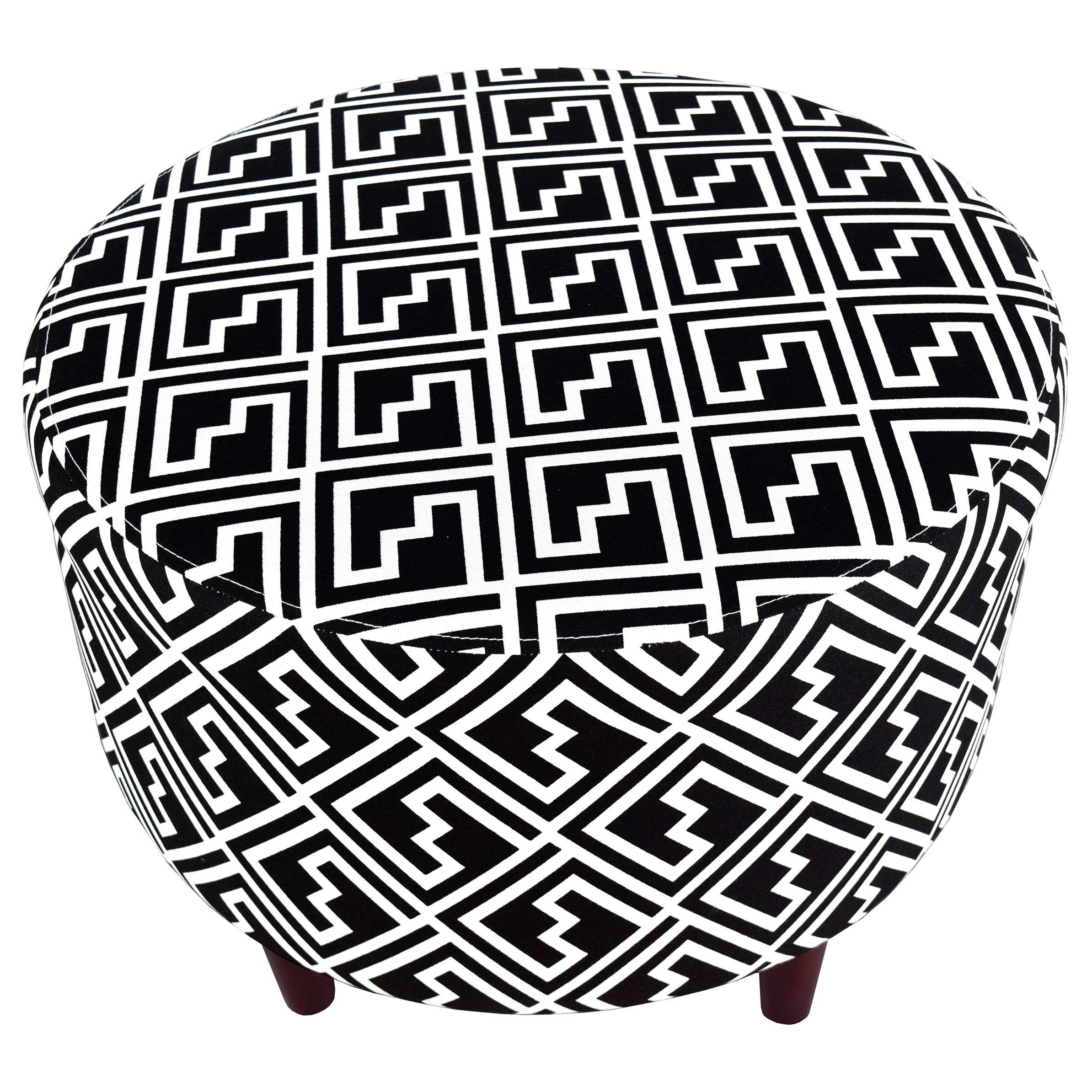 MJL Furniture Designs Sophia Collection Fabric Upholstered Round Footrest Ottoman with Round Espresso Finished Legs, Shakes Series, Black