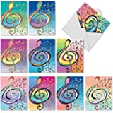 M3315 Design Tunes: 10 Assorted Blank All-Occasion Note Cards Feature Whimsical Musical Symbols, w/White Envelopes.