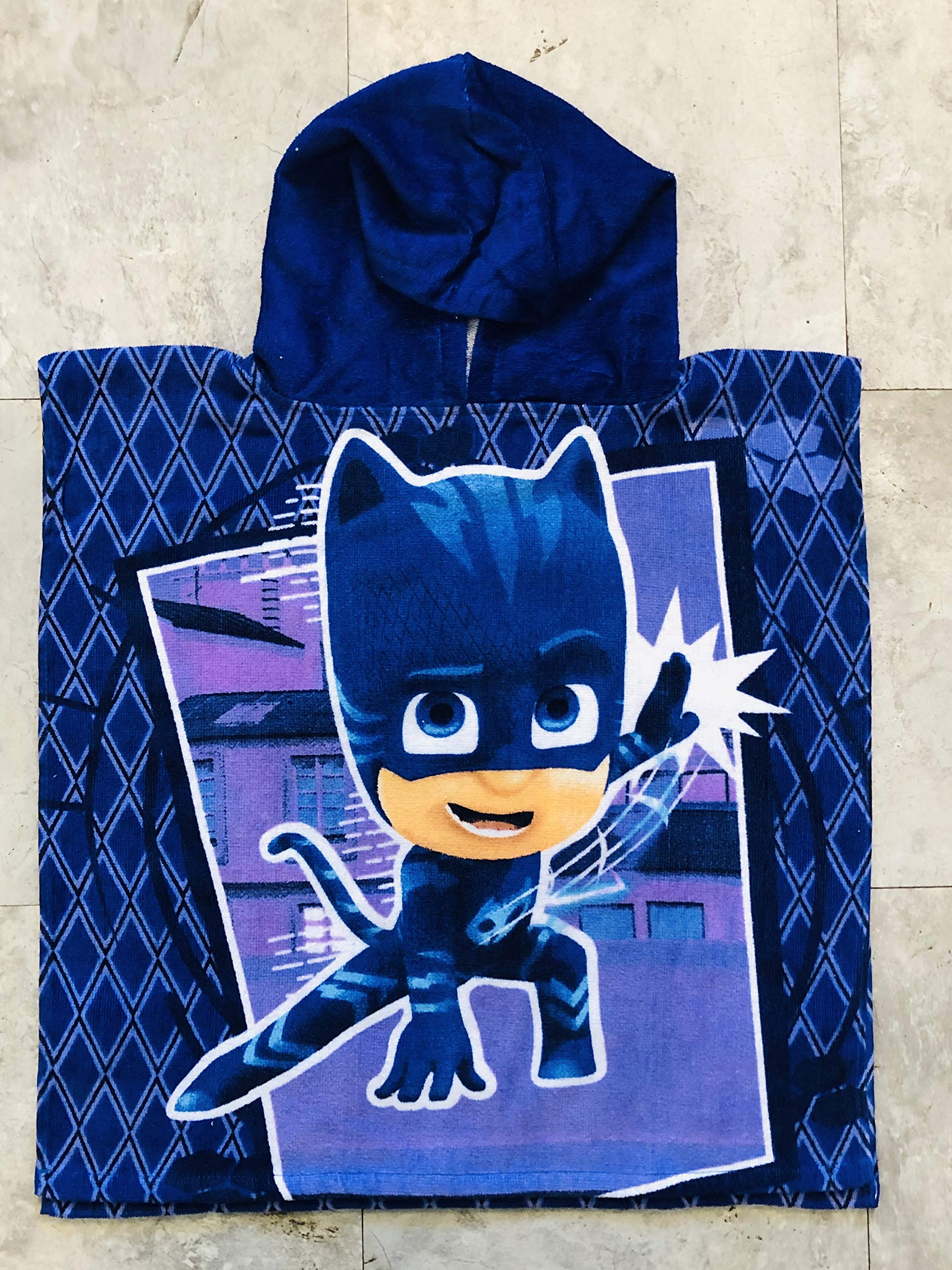 FROG BOX PJ Mask Catboy to The Cat- Car Blue Purple Hooded Poncho Towel