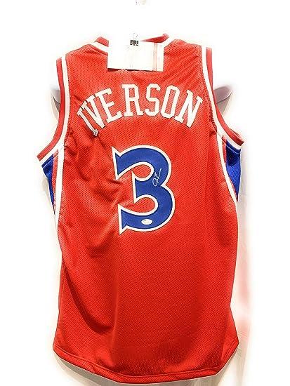 516ab62c62e Allen Iverson Philadelphia 76ers Autograph Signed Red Custom Jersey JSA  Witnessed Certified