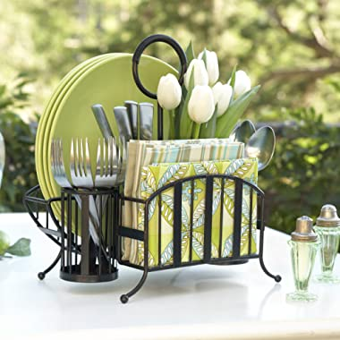 Inspired Living by Mesa Inspired Living Utensil Silverware Buffet Organizer in Antique Black Delaware Collection Picnic Caddy,