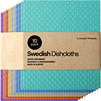 Swedish Dishcloth Cellulose Sponge Cloths - Bulk 10 Pack of Eco-Friendly No Odor Reusable Cleaning Cloths for Kitchen…
