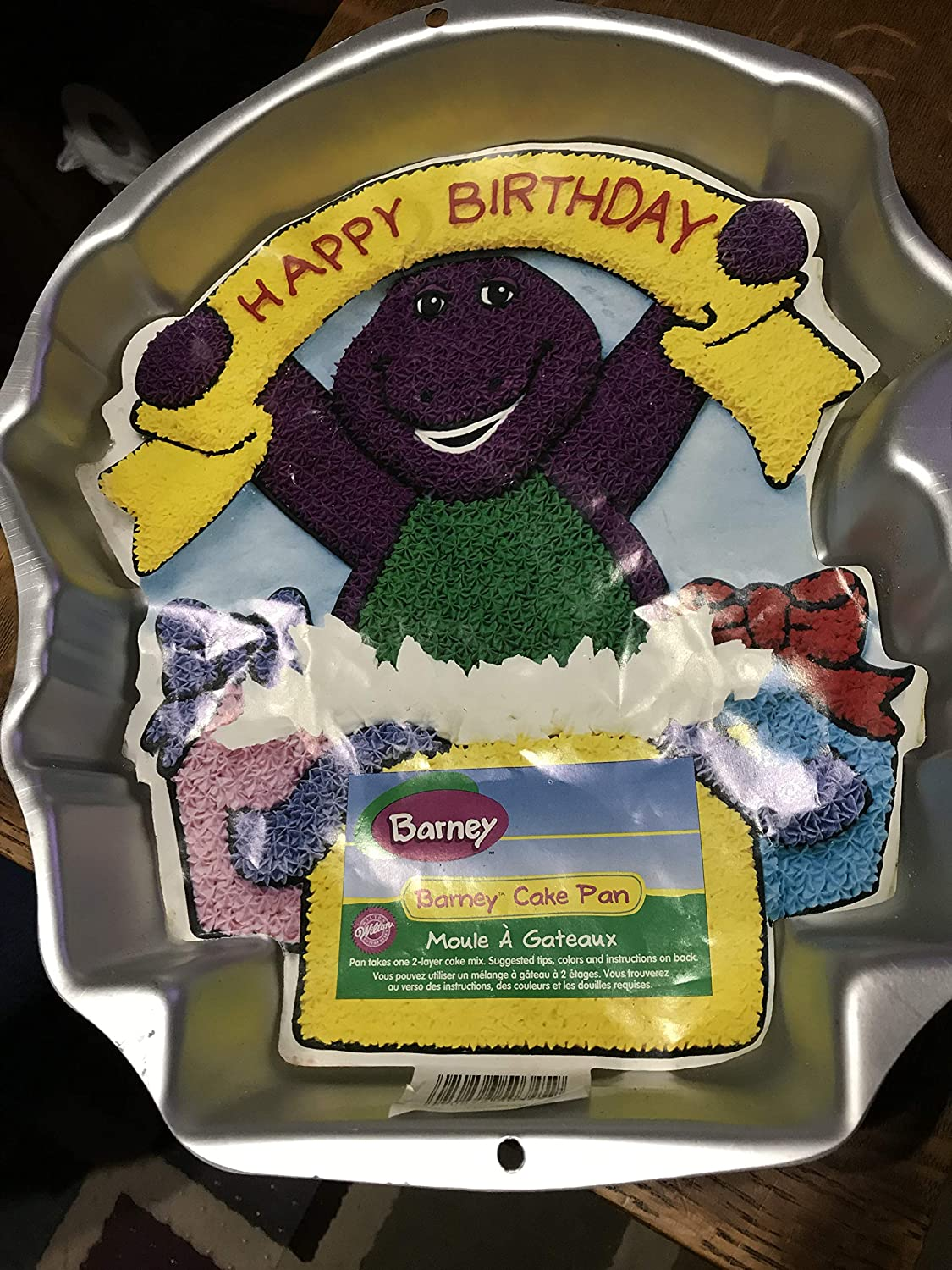 Super Amazon Com Wilton Barney Character Birthday Cake Pan Home Kitchen Personalised Birthday Cards Cominlily Jamesorg