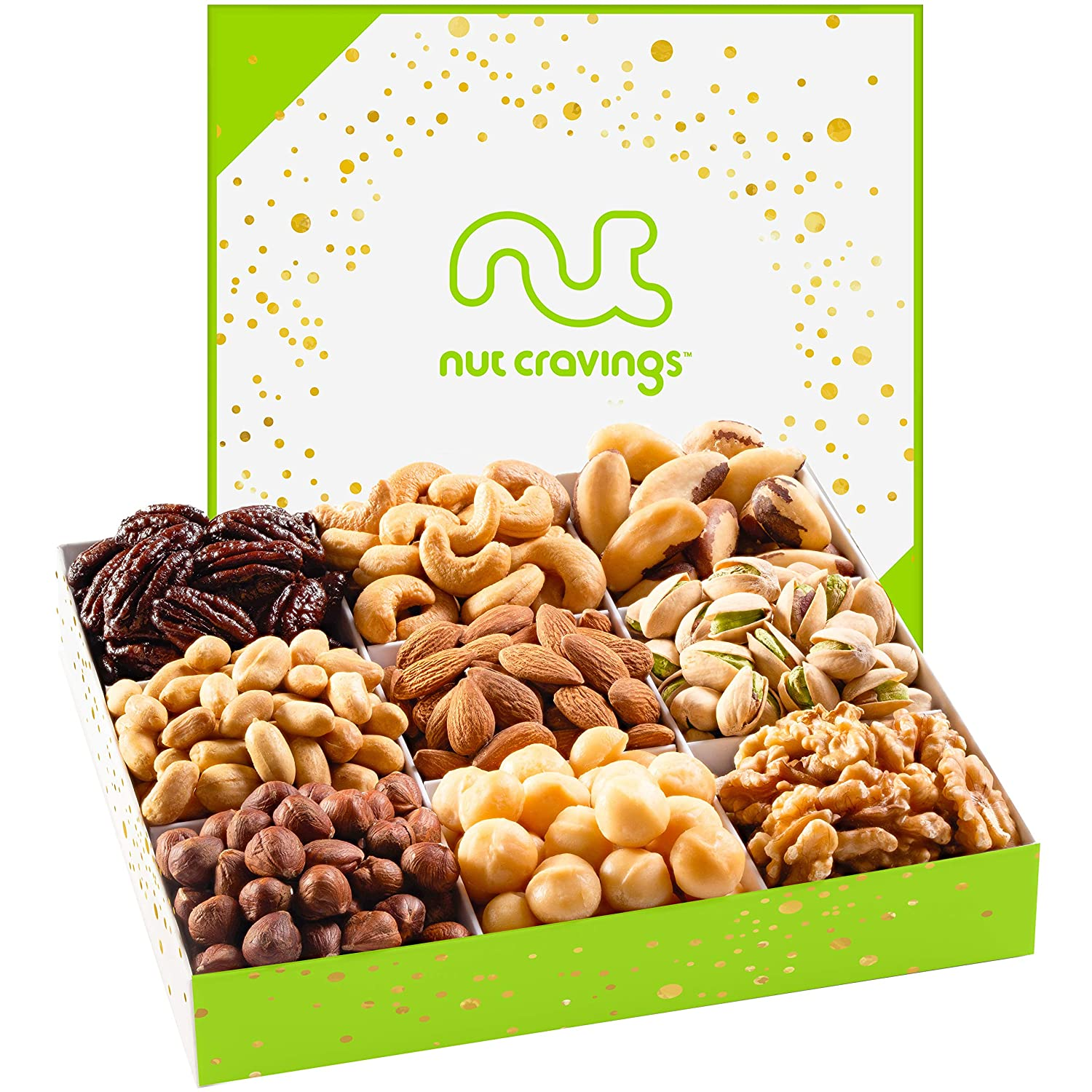 Gourmet Gift Basket Assortment, Fresh Nut Mix Tray (9 Variety) - Edible Care Package Set, Birthday Party Food Arrangement Platter - Healthy Snack Box for Families, Women, Men, Adults - Prime Delivery