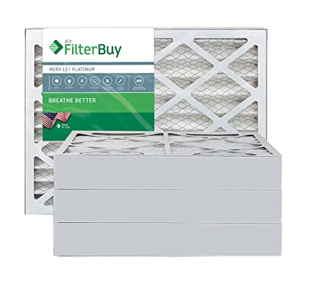 afb platinum merv 13 14x25x4 pleated ac furnace air filter. pack of ...