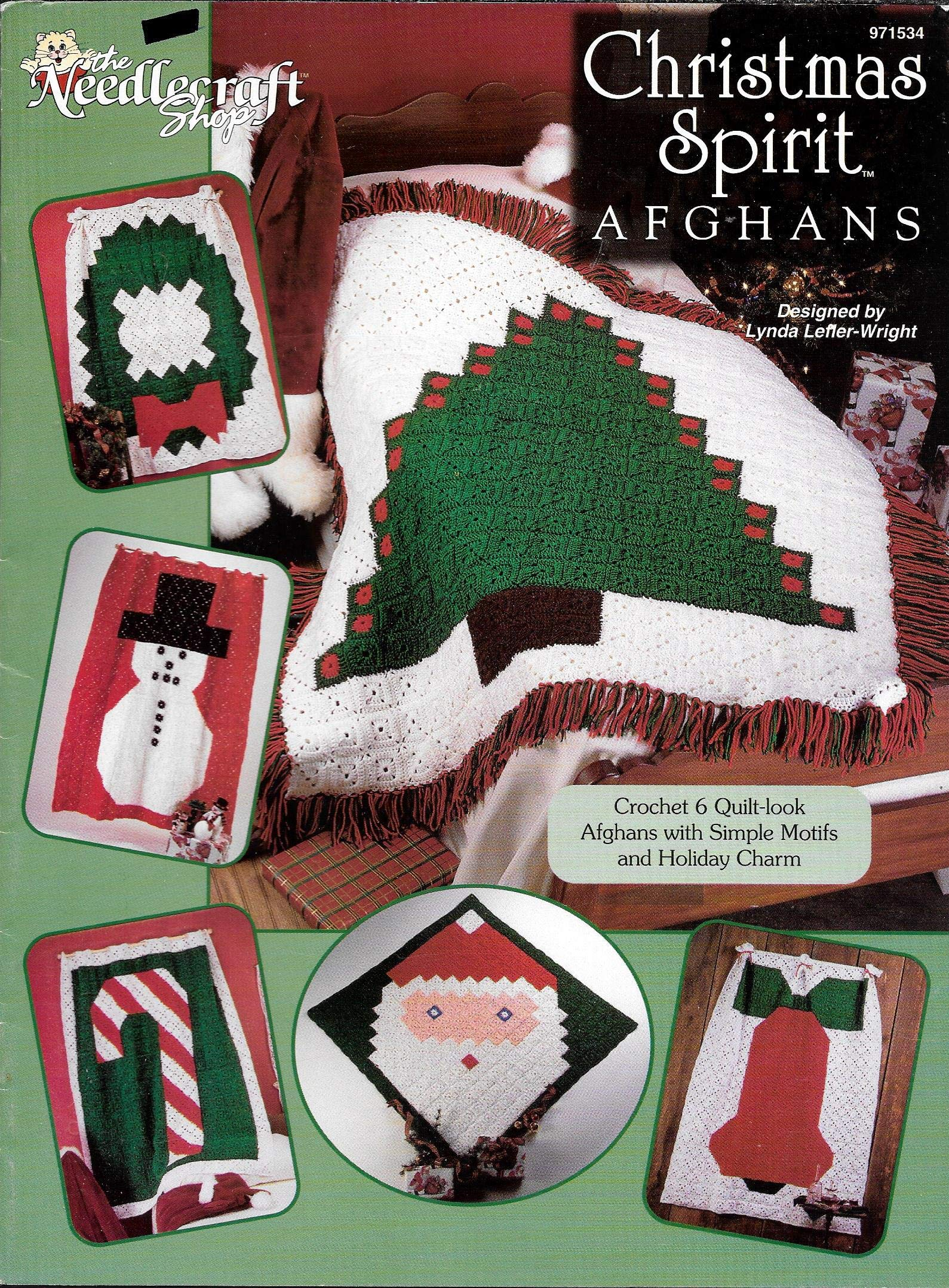 CHRISTMAS SPIRIT AFGHANS - THE NEEDLECRAFT SHOP - #971534 Pamphlet – 1997 Lynda Lefler-Wright B01JKTWMMU