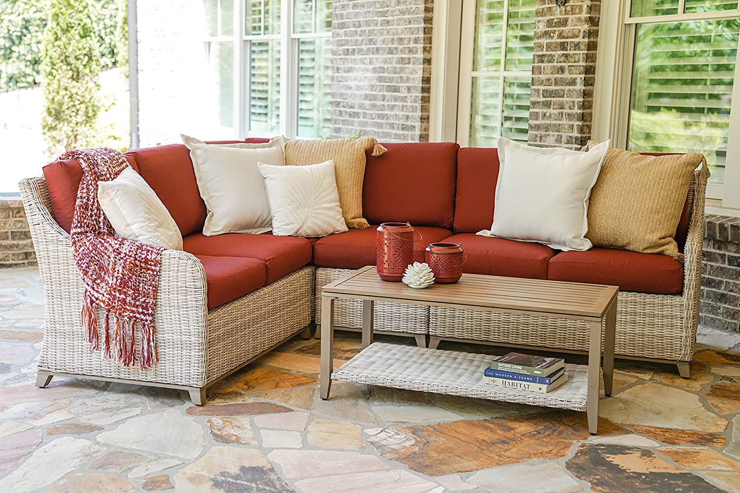 Leisure Made Hampton 5pc Outdoor Sectional with Red Olefin Cushions