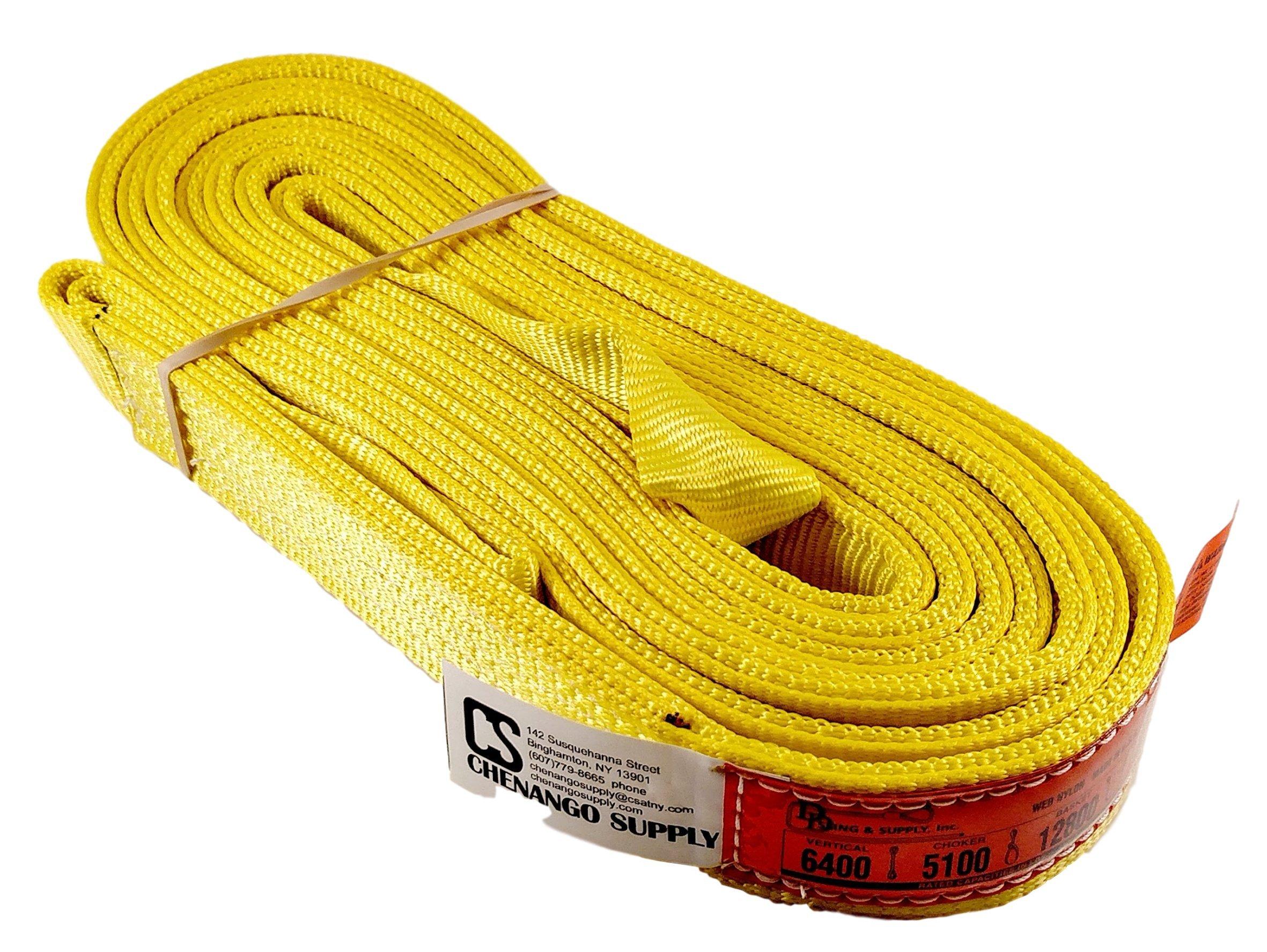 DD Sling (USA Made). 2'' wide X (4' to 20' lengths) in Listing! 2 Ply Twisted Eye, Nylon Lifting Slings, Eye & Eye, Heavy Duty (900 webbing), 6,400 lbs Vertical, 5,100 Choker, 12,800 Basket Load Capacity (2inX20ft)