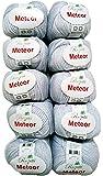 10x 50G Meteor lana per lavorare a maglia e uncinetto con glitter colore 400-12, bianco
