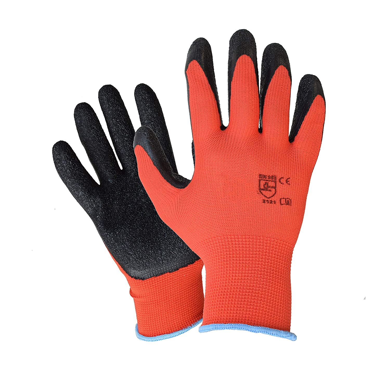 10 Pairs Size S(7) Latex coated work gloves for builders, gardeners, etc - By ASPRO (10 pairs, SMALL (size 7))