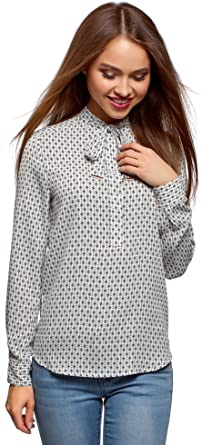 oodji Collection Mujer Blusa Ancha con Lazo: Amazon.es: Ropa y accesorios