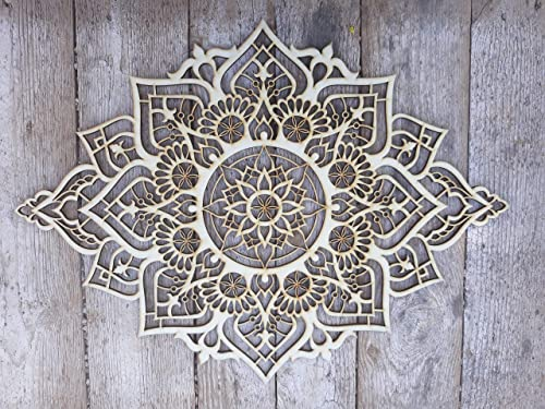 Mandala Wood Home Decor, Morrocan Indian Wall Art, Sacred Geometry Yoga Studio, Handmade Boho Ethnic Wall Hanging, Unique Meditation Spiritual Gift