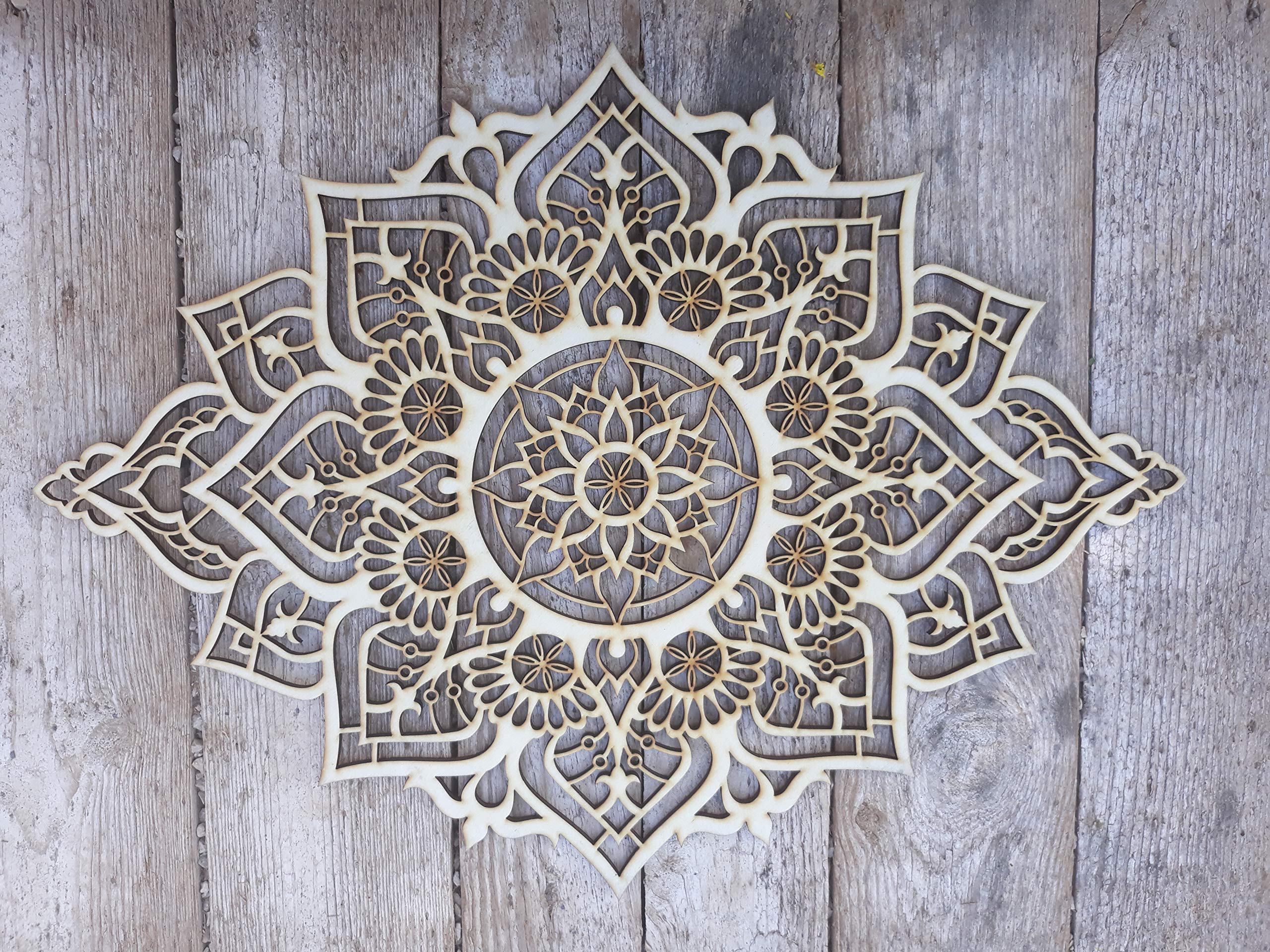 Mandala Wood Home Decor, Boho Ethnic Housewarming Wall Hanging, Morrocan Indian Wall Art, Sacred Geometry Yoga Studio, Unique Handmade Spiritual Gift