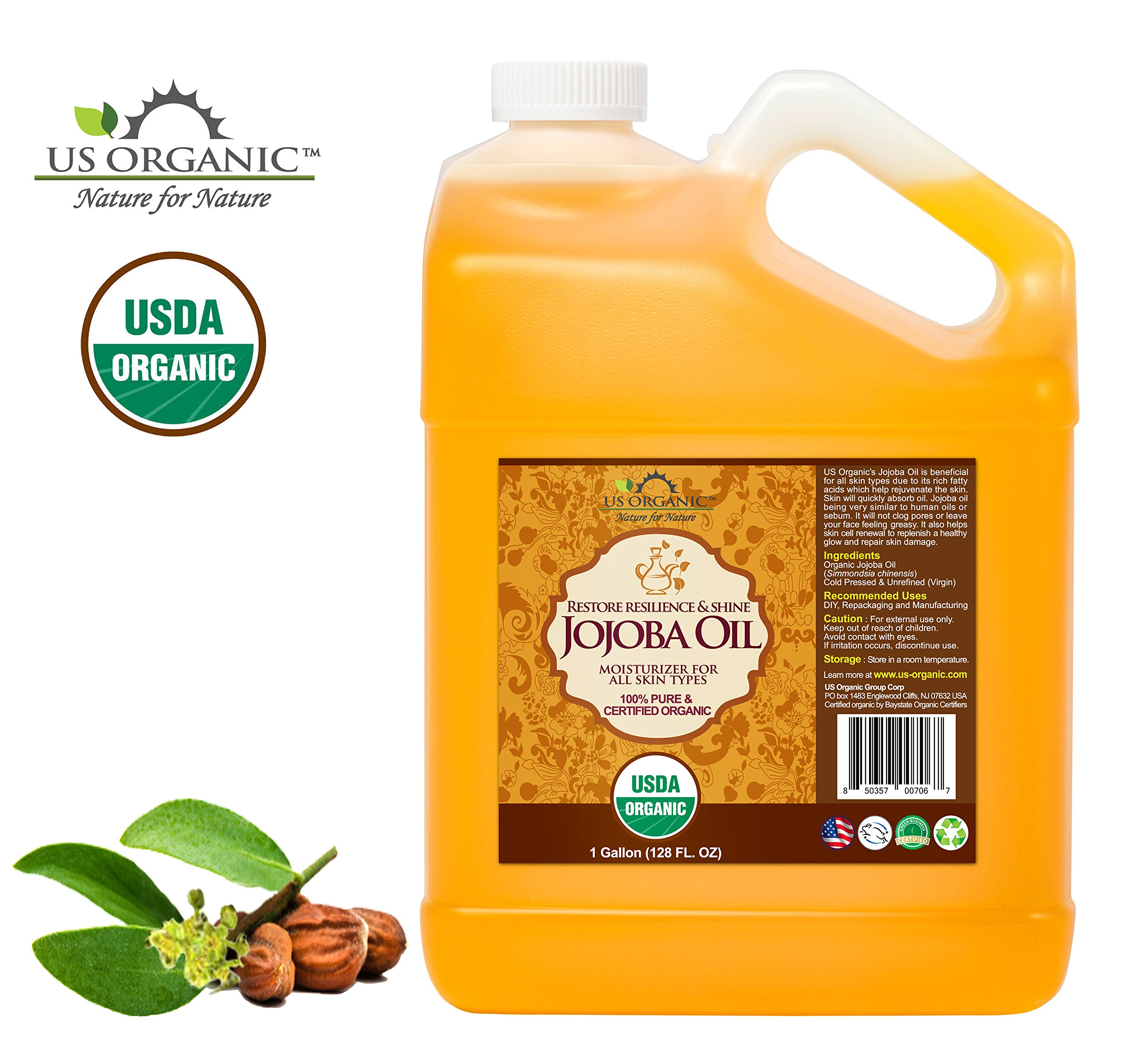 US Organic Jojoba Oil bulk pack, USDA Certified Organic,100% Pure & Natural, Cold Pressed Virgin, Unrefined, Haxane Free, 1 Gallon (128 Ounce)