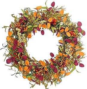 Fall Decor Door Wreath - Sunnysdady 20 inches Autumn Farmhouse Wreaths for Front Door Decorations