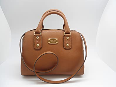 Michael Kors Small Saffiano Leather Satchel Luggage Brown ...