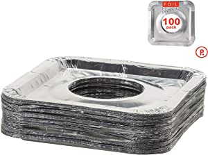 Aluminum Foil Square Stove Burner Covers - Disposable Bib Liners for Kitchen Gas Range 8.5 x 8.5 x .5 Inch (100)