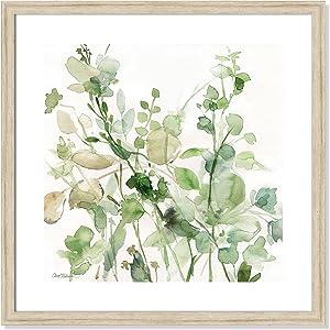 "Casa Fine Arts Sage Garden II Green Modern Floral Botanical Archival Watercolor Art Print, 22.5"" x 22.5"", Beige Frame"