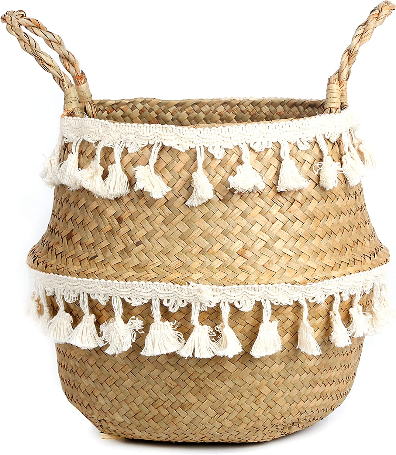 BlueMake Tassel Macrame Woven Seagrass Belly Basket for Storage, Decoration, Laundry, Picnic, Plant Basin Cover, Groceries and Toy Storage (Medium, Tassel)