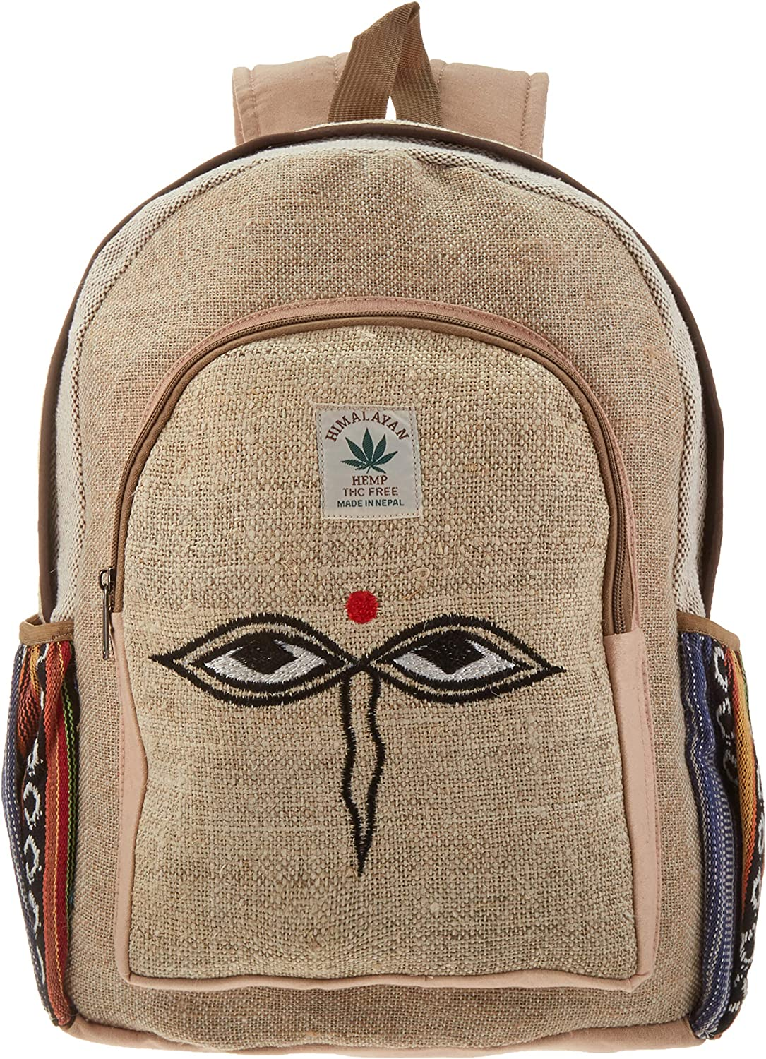 All Natural Handmade Large Multi Pocket Hemp Backpack (THC FREE) with Laptop Sleeve - Fashion Cute Travel School College Shoulder Bag/Bookbags/Daypack