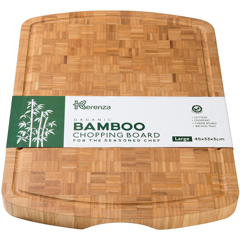Tabla de cortar de bambú extra grande, bloque grueso de carnicero con ranura para zumo y empuñaduras para los dedos, 45 x 35 x 3 cm, elegante tabla de ahorro para encimera de trabajo Level 23 Inc Limited