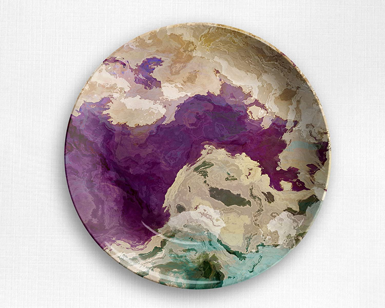 Microwave safe outdoor plate with abstract art, Plum Creek