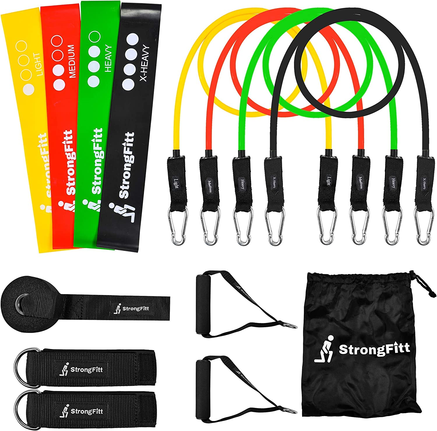 STRONG 6PC RESISTANCE BANDS SET LOOP HEAVY DUTY EXERCISE SPORT FITNESS GYM YOGA