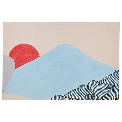 Rivet Mid Century Modern Abstract Mountain Landscape Wall Art Decor On Canvas 24 X 36 Inches