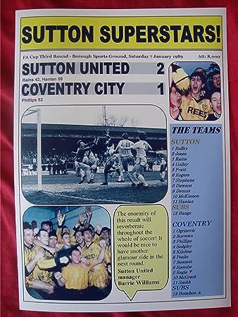 Sutton United 2 Coventry City 1 - 1989 FA Cup - souvenir