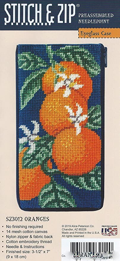 Stitch /& Zip Eyeglass Case Needlepoint Kit Oranges