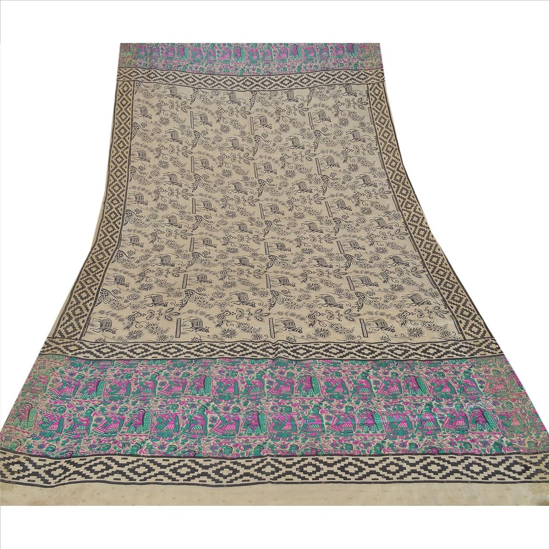 100% Pure Tassar Silk New Long Stole Dupatta Cream Scarves Printed Wrap Veil