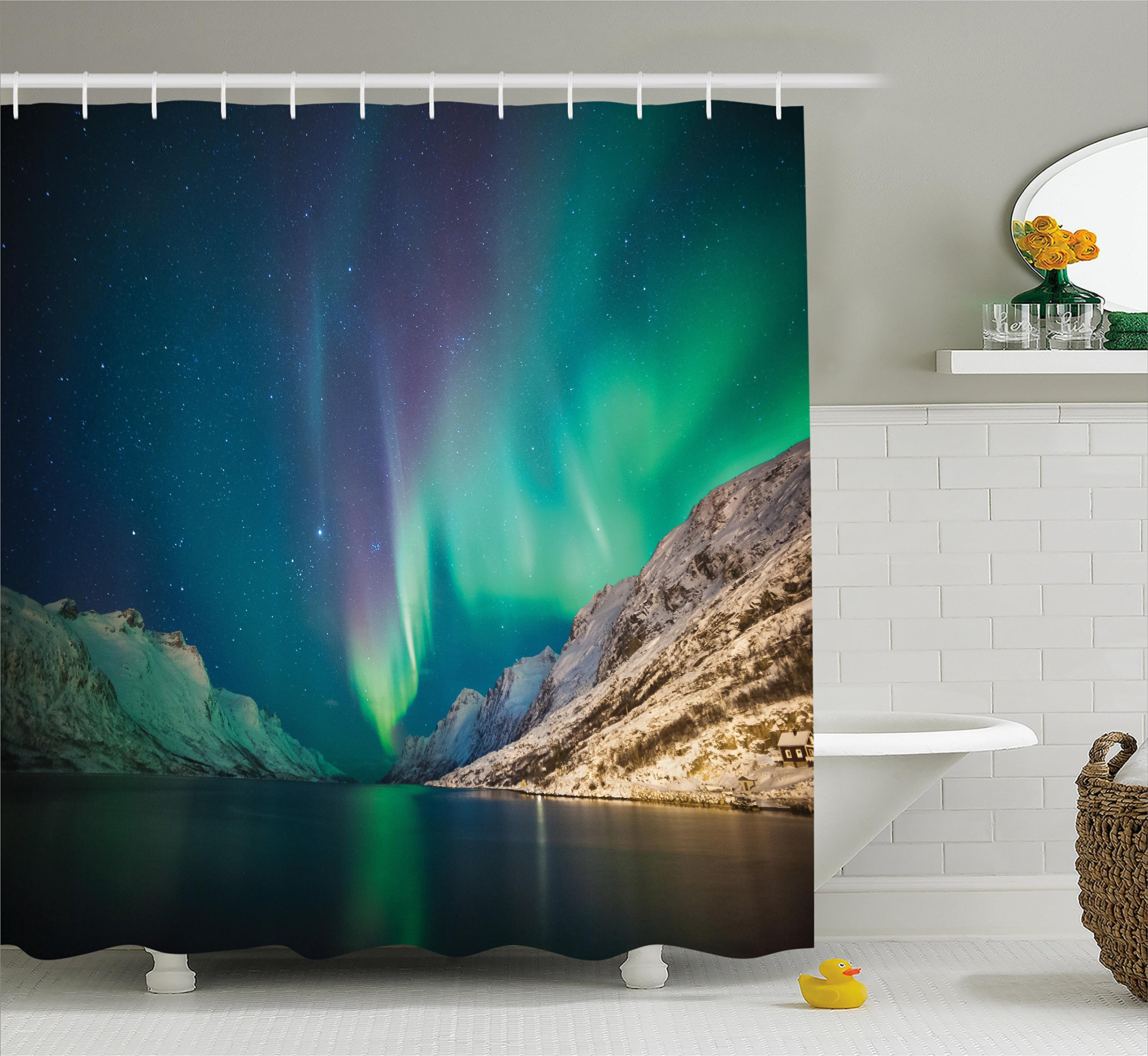 Ambesonne Nature Decor Shower Curtain, Mystical Northern Lights Above Rocky Hills Magnetic Poles Solar Space Panorama, Fabric Bathroom Decor Set with Hooks, 75 inches Long, Jade Green