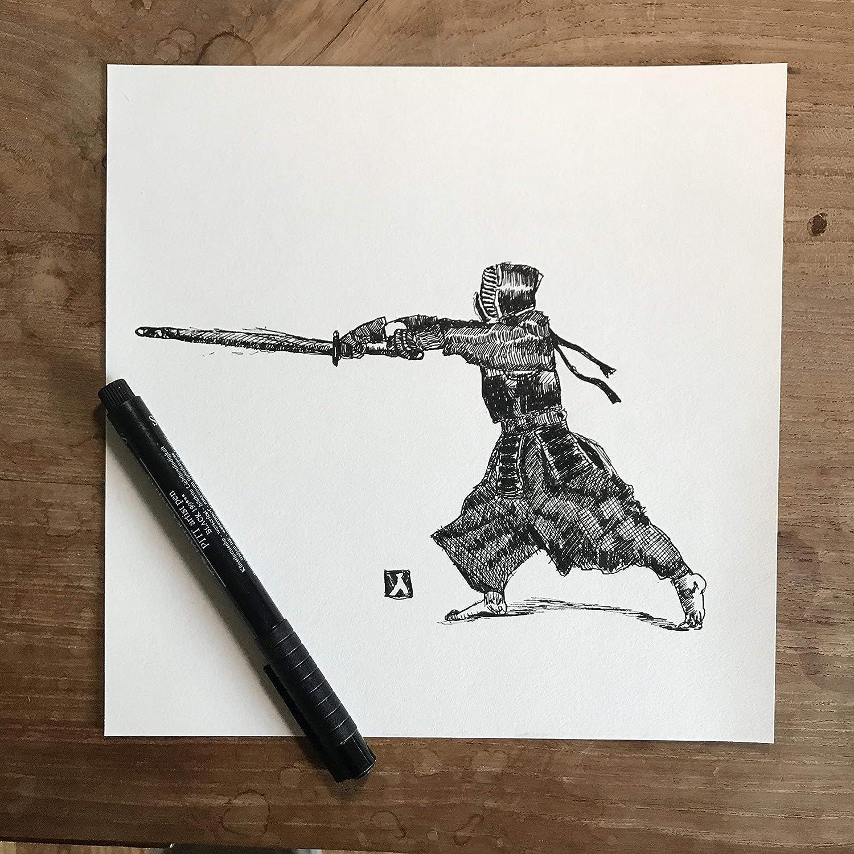 Print Of Pen Sketch of Kendo Martial Artist