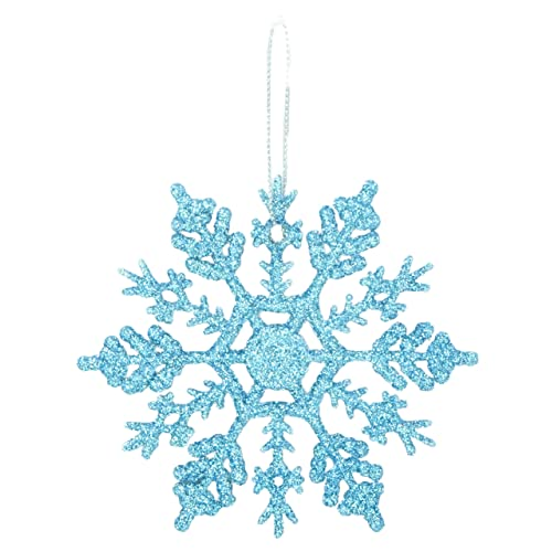 pack of 12 10cm glitter snowflake hanging decorations christmas decorations ice blue