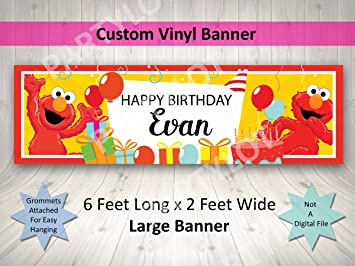 Elmo Birthday Banner Personalized Custom Party Decoration Large 2FTx6FT
