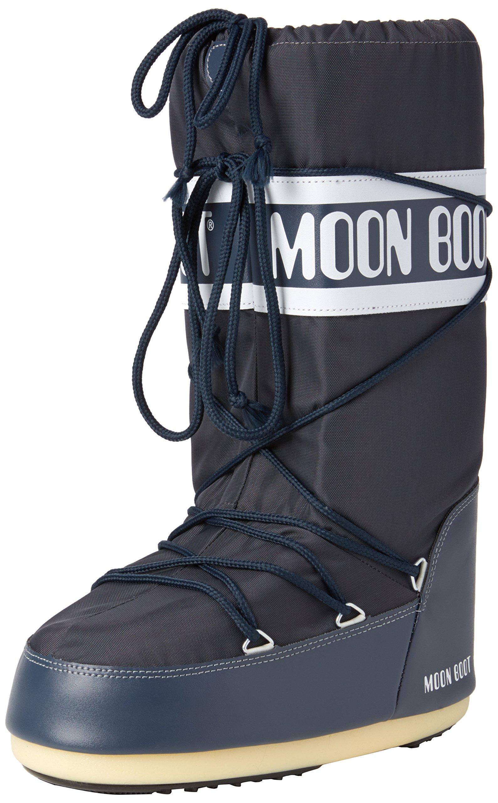 Moon Boot Unisex Adults Tecnica Nylon Winter Waterproof Knee Boot - Blue Jeans - 9-10.5 Mens