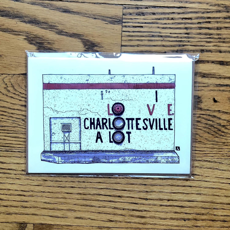 Greeting Card of the Charlottesville Belmont LandmarkI Love Charlottesville A Lot with mural artwork by Richard Montoya BellavanceInk