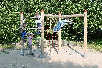 Klettergerüst Reckstange : Klettergerüst aus holz mit kletternetz feuerstange din en