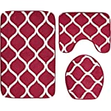 3-Piece Bathroom Mat Set, Extra Soft Memory Foam Combo - Rug, Contour Mat and Lid Cover (Red)