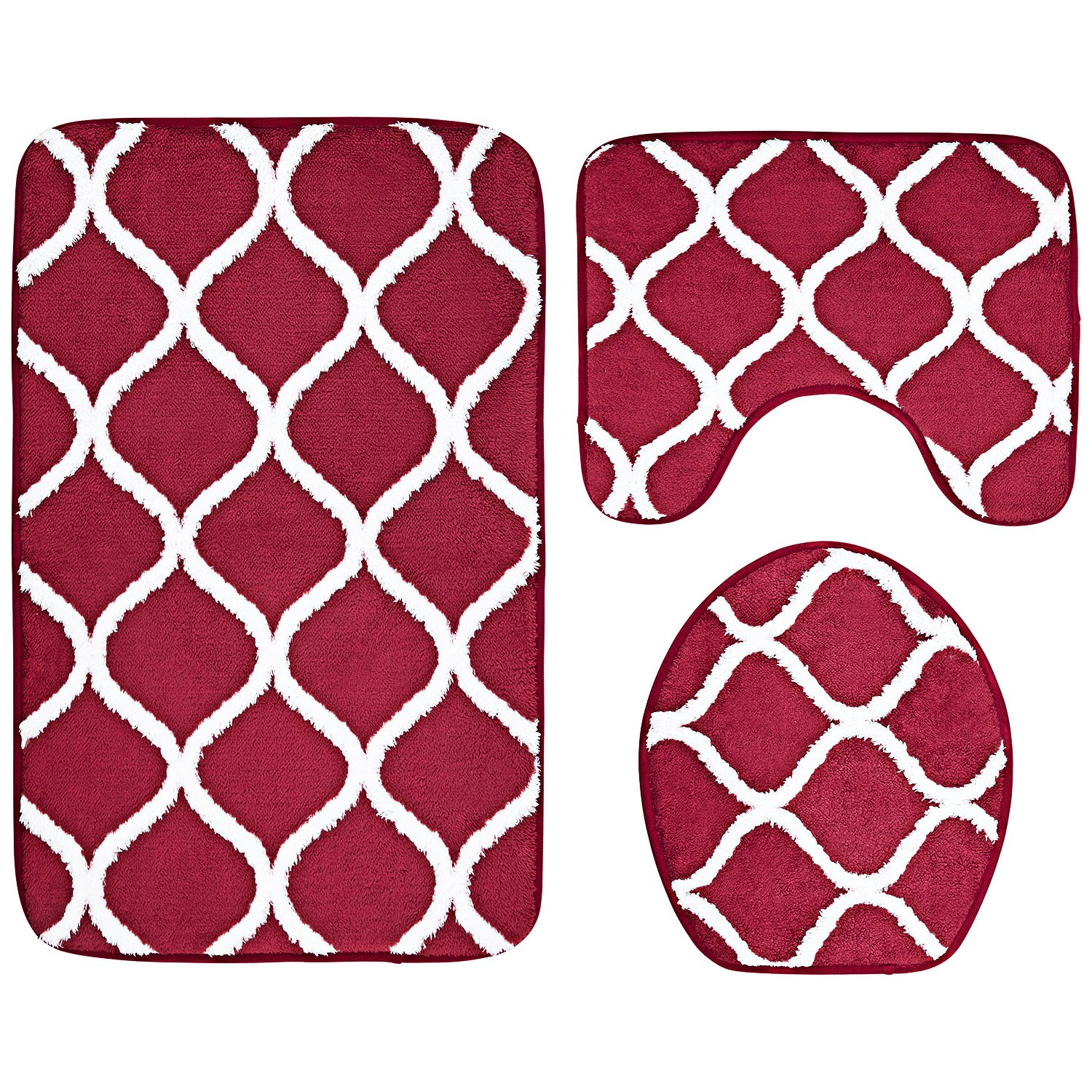 3-Piece Bathroom Mat Set, Extra Soft Memory Foam Combo - Rug, Contour Mat and Lid Cover (Red) Over the Floor