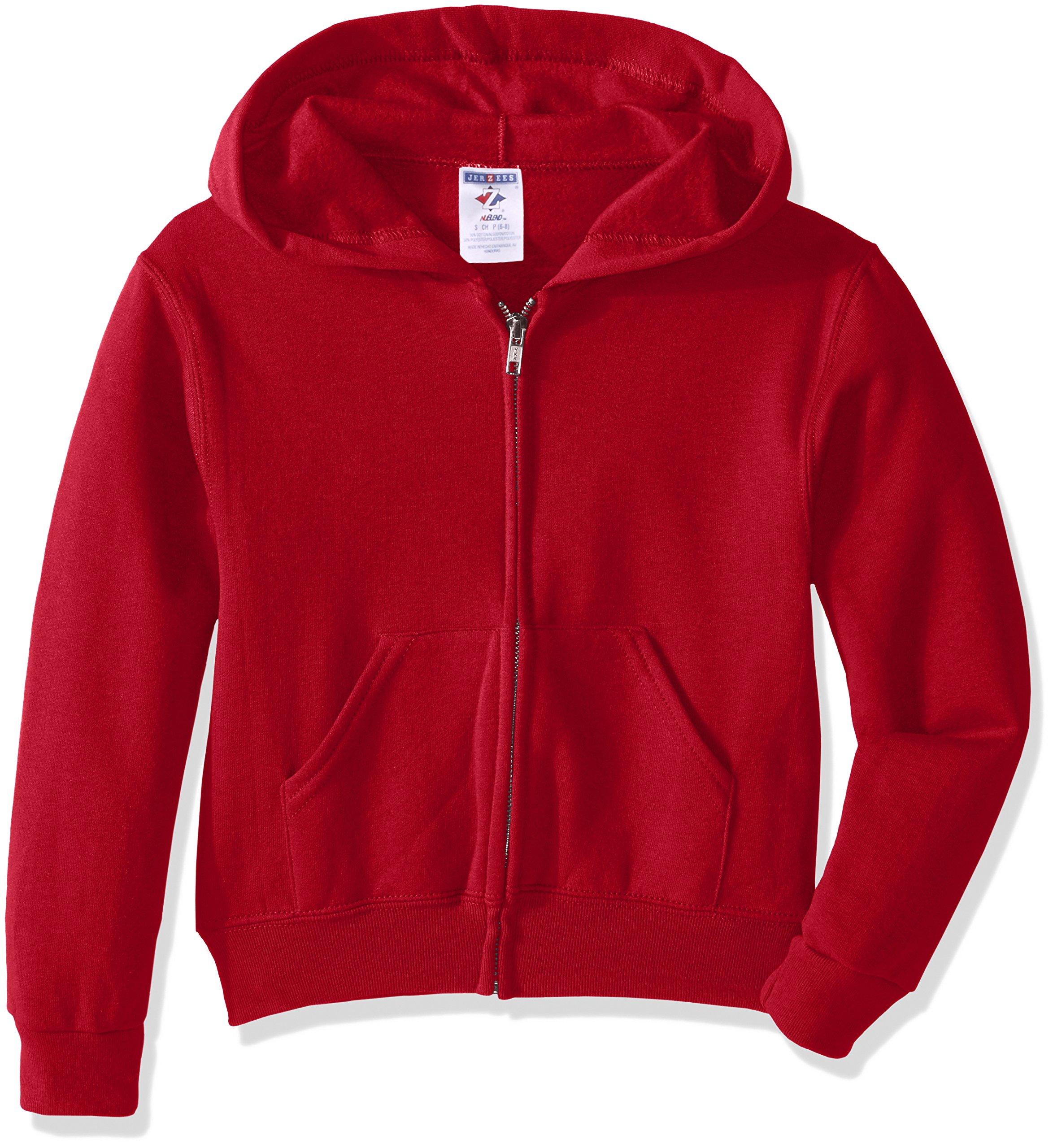 Jerzees Youth Full Zip Hooded Sweatshirt, True Red, Large