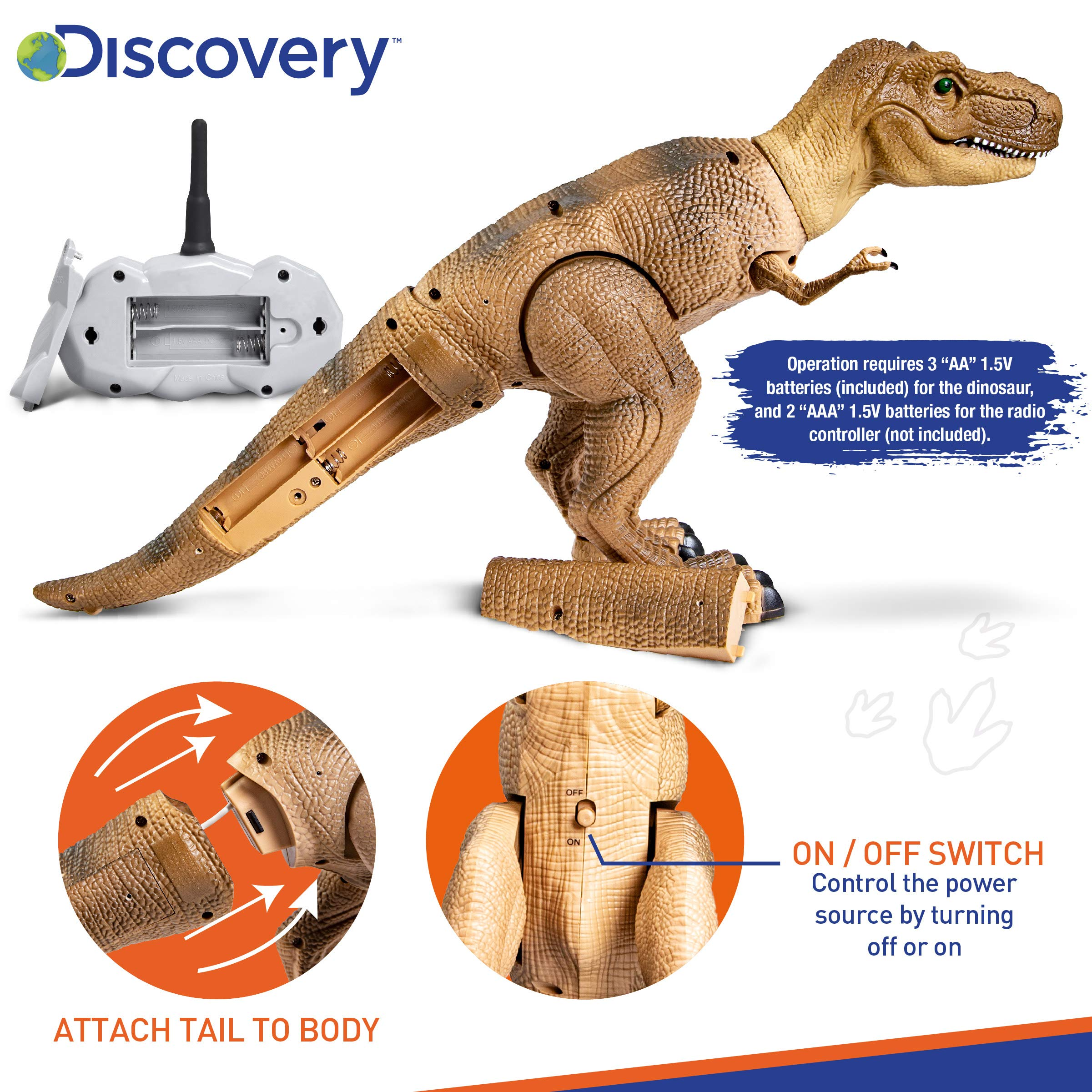 Discovery Kids Remote Control RC T Rex Dinosaur Electronic Toy Action Figure Moving & Walking Robot w/Roaring Sounds & Chomping Mouth, Realistic Plastic Model, Boys & Girls 6 Years Old+ by Discovery Kids (Image #6)