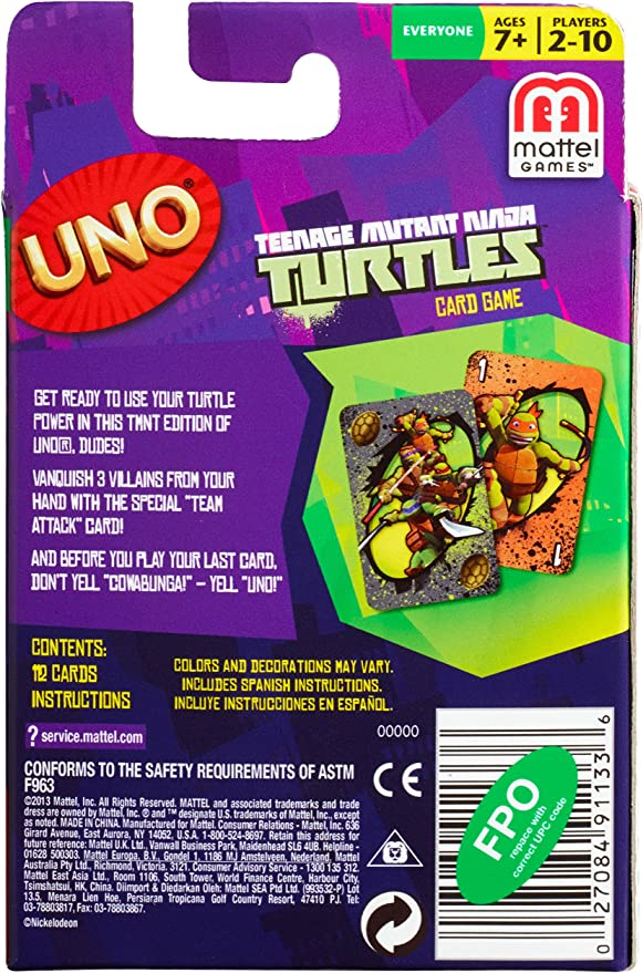 Teenage Mutant Ninja Turtles UNO Card Game
