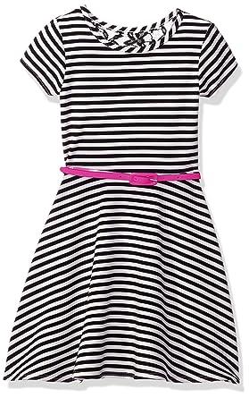 BTween Little Girls Little Short Sleeve Striped Dress with Lace Back Insert  and Belt 1a4c22027